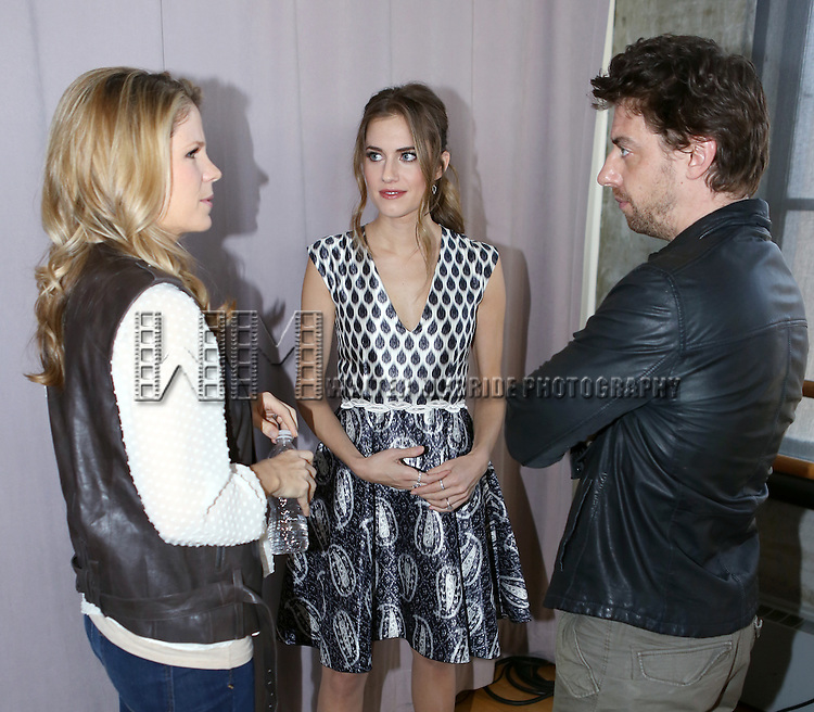 Kelli O'Hara, Allison Williams and Christian Borle attends the 'Peter Pan LIVE! press junket at Baryshinkov Arts Center on October 30, 2014 in New York City.