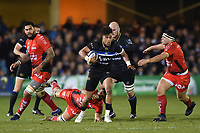 Anthony Watson of Bath Rugby goes on the attack. European Rugby Champions Cup match, between Bath Rugby and RC Toulon on December 16, 2017 at the Recreation Ground in Bath, England. Photo by: Patrick Khachfe / Onside Images