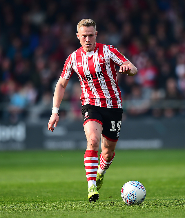 Lincoln City's Danny Rowe<br /> <br /> Photographer Andrew Vaughan/CameraSport<br /> <br /> The EFL Sky Bet League Two - Lincoln City v Macclesfield Town - Saturday 30th March 2019 - Sincil Bank - Lincoln<br /> <br /> World Copyright © 2019 CameraSport. All rights reserved. 43 Linden Ave. Countesthorpe. Leicester. England. LE8 5PG - Tel: +44 (0) 116 277 4147 - admin@camerasport.com - www.camerasport.com