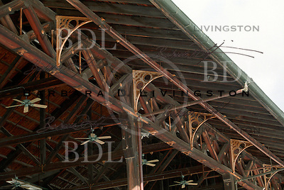 Saratoga Race Course grandstand architecture...wooden trusses. Saratoga Race Course, Saratoga Racetrack, beautiful horse racing, Thoroughbred racing, horse, equine, racehorse, morning mood scenic, mood, horse racing, pretty, racehorse, horse, equine, racetrack, track, saratoga