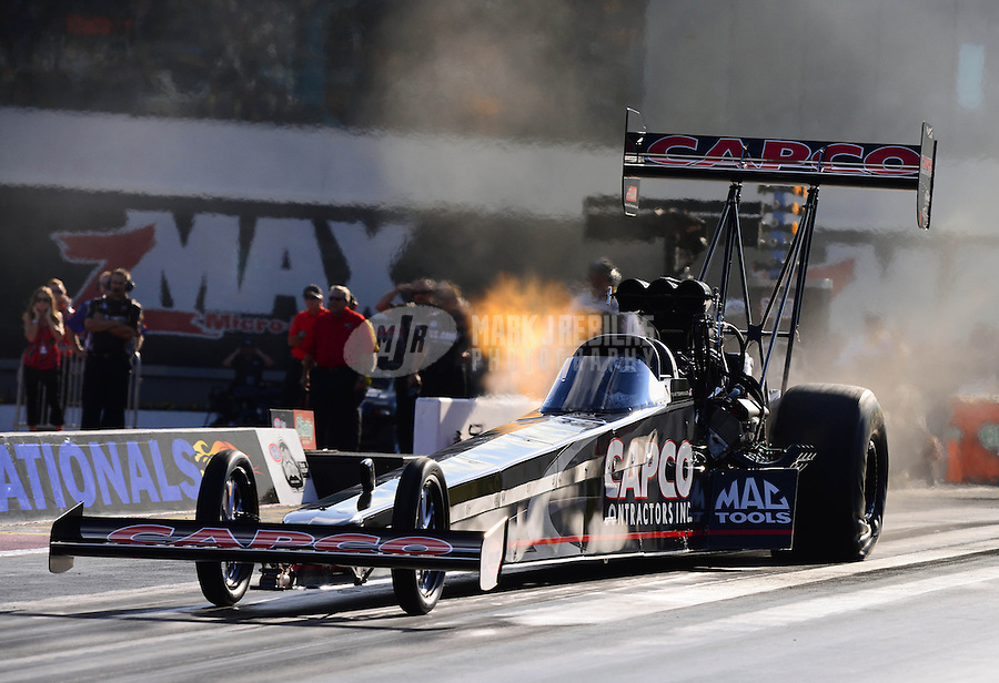 Sept. 14, 2012; Concord, NC, USA: NHRA top fuel dragster driver Steve Torrence during qualifying for the O'Reilly Auto Parts Nationals at zMax Dragway. Mandatory Credit: Mark J. Rebilas-