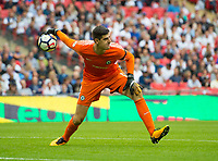 Chelsea's Thibaut Courtois during the Premier League match between Tottenham Hotspur and Chelsea at Wembley Stadium, London, England on 20 August 2017. Photo by Andrew Aleksiejczuk / PRiME Media Images.