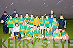 The Portmagee Skellig Rangers team who defeated St Mary's Cahersiveen in the U12 South Kerry Championship Final in Portmagee were front l-r; Amy O'Connell, Niamh Keating, Fiona Keating, John Murphy, Adam Kennedy, Diarmuid Keating(Captain), Paul Kennedy, Daniel O'Sullivan, Thomas Hussey, back l -r; Michael O'Connell, Colleen Murphy, Tara O'Sullivan, Anthony O'Driscoll, Brian Kennedy, Gareoid Riordan, Donal O'Sullivan, Brendan ?Murphy, Eoin O'Keeffe, Gavin de Silva, Padraic O'Connell & mentors Patrick O'Sullivan, Gerard Murphy & Francie O'Driscoll.