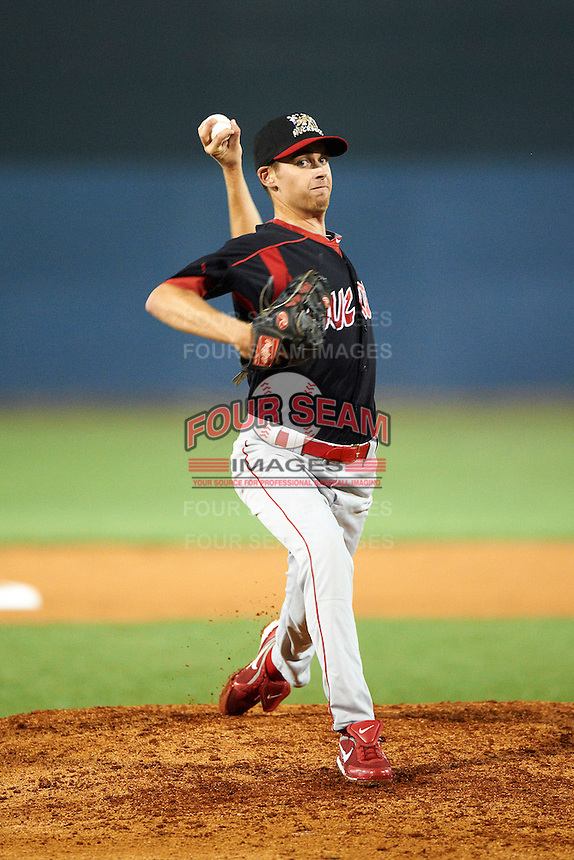 Batavia Muckdogs pitcher Tyler Melling #49 during the NY-Penn League All-Star Game at Eastwood Field on August 14, 2012 in Niles, Ohio.  National League defeated the American League 8-1.  (Mike Janes/Four Seam Images)