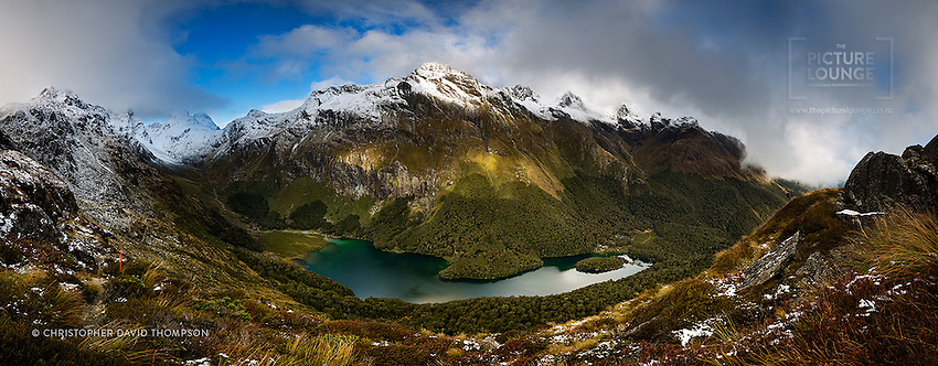 An astounding view down to Lake Mackenzie from the Routeburn Track as captured by Wanaka-based landscape and outdoor photographer Christopher Thompson. A super-detailed panorama made up of 18 individual frames means that this can be printed very large indeed.