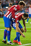 Atletico de Madrid's players Antoine Griezmann and Juanfran Torres during match of UEFA Champions League at Vicente Calderon Stadium in Madrid. September 28, Spain. 2016. (ALTERPHOTOS/BorjaB.Hojas)