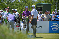 Sam Ryder (USA) chats with Seamus Power (IRL) on the first tee during round 2 of the AT&amp;T Byron Nelson, Trinity Forest Golf Club, at Dallas, Texas, USA. 5/18/2018.<br /> Picture: Golffile | Ken Murray<br /> <br /> <br /> All photo usage must carry mandatory copyright credit (&copy; Golffile | Ken Murray)