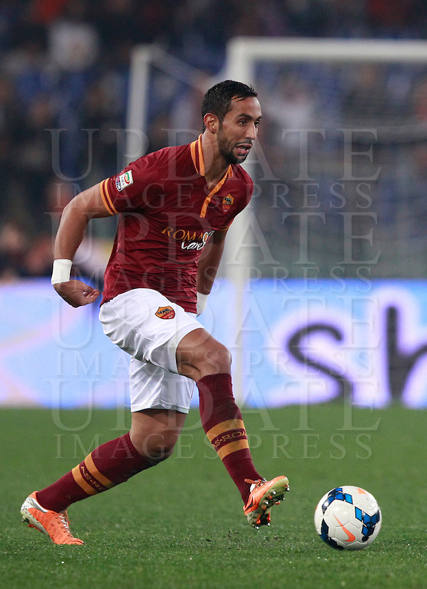 Calcio, Serie A: Roma vs Udinese. Roma, stadio Olimpico, 17 marzo 2014.<br /> AS Roma defender Mehdi Benatia, of Morocco, in action during the Italian Serie A football match between AS Roma and Udinese at Rome's Olympic stadium, 17 March 2014.<br /> UPDATE IMAGES PRESS/Isabella Bonotto