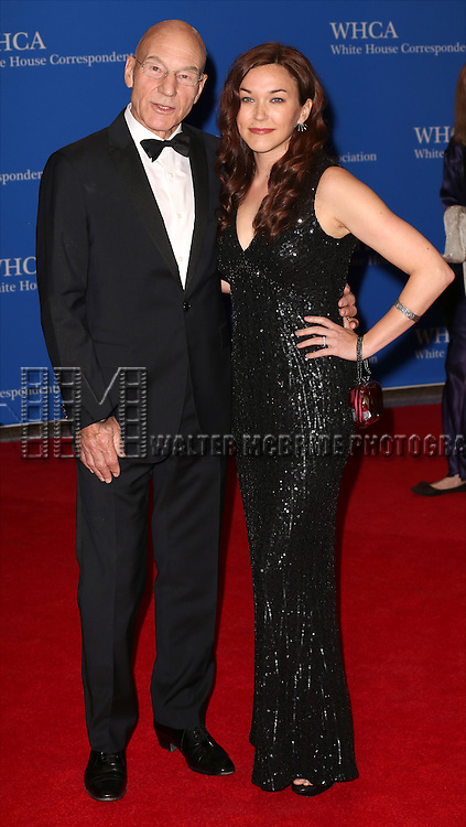 Patrick Stewart and Sunny Ozell attends the 100th Annual White House Correspondents' Association Dinner at the Washington Hilton on May 3, 2014 in Washington, D.C.