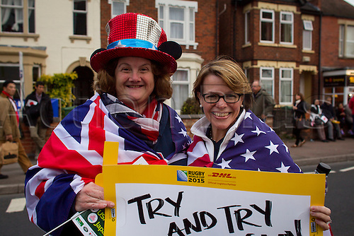 11.10.2015. Kingsholm Stadium, Gloucester, England. Rugby World Cup. USA versus Japan. American fans pictured outside Kingsholm Stadium before kick-off.