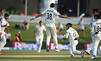 24th November 2019; Mt Maunganui, New Zealand;  Tom Latham takes a catch to dismiss Leach as Tim Southee and team mates celebrate on day 4 of the 1st international cricket test match, New Zealand versus England at Bay Oval, Mt Maunganui, New Zealand.  - Editorial Use