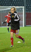 20151130 - LEUVEN ,  BELGIUM : Belgian Janice Cayman pictured during the female soccer game between the Belgian Red Flames and Serbia , the third game in the qualification for the European Championship in The Netherlands 2017  , Monday 30 November 2015 at Stadion Den Dreef  in Leuven , Belgium. PHOTO DIRK VUYLSTEKE