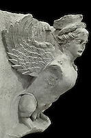 Sphinx found at the Colonnaded Street at Petra, Ma'an, Jordan, from Petra Archaeological Museum. This winged sphinx is sculpted from sandstone. Petra was the capital and royal city of the Nabateans, Arabic desert nomads. Picture by Manuel Cohen