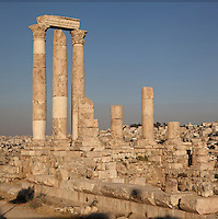 Temple of Hercules, Amman Citadel, Jabal al Qal'a, Amman, Jordan. This Roman temple was built in 162-66 AD and is dedicated to co-emperors Marcus Aurelius & Lucius Verus; cityscape of downtown Amman visible in the background. Picture by Manuel Cohen