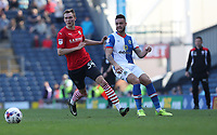 Blackburn Rovers' Derrick Williams and Barnsley's Ryan Hedges in action during todays match<br /> <br /> Photographer Rachel Holborn/CameraSport<br /> <br /> The EFL Sky Bet Championship - Blackburn Rovers v Barnsley - Saturday 8th April 2017 - Ewood Park - Blackburn<br /> <br /> World Copyright &copy; 2017 CameraSport. All rights reserved. 43 Linden Ave. Countesthorpe. Leicester. England. LE8 5PG - Tel: +44 (0) 116 277 4147 - admin@camerasport.com - www.camerasport.com