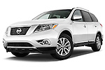 Low aggressive front three quarter view of a 2013 Nissan Pathfinder  SUV