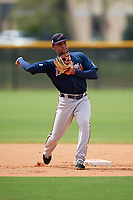 Atlanta Braves Derian Cruz (20) during practice before a Minor League Spring Training game against the New York Yankees on March 12, 2019 at New York Yankees Minor League Complex in Tampa, Florida.  (Mike Janes/Four Seam Images)