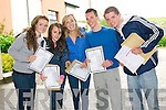 Pobal Scoil Corcha Dhuibhne students Courtney Garvey, Róisín Finn, Ciara Flannery, Jamie Flannery and Patrick Ferriter (Dingle) delighted with their Leaving Cert results on Wednesday morning.