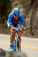 Benjamin Noval, of the Discovery Channel Pro Cycling Team, descends Lookout Mountain, near the Tennessee border, during the Stage 3 individual time trial of the Ford Tour de Georgia pro cycling. Noval finished 27th in the 24.8-mile (39.9km) stage with a time of 58:37.71.<br />
