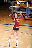 17 November 2011:  Denver outside hitter Cassie Ronda (11) serves in the second set as the FIU Golden Panthers defeated the Denver University Pioneers, 3-1 (25-21, 23-25, 25-21, 25-18), in the first round of the Sun Belt Conference Tournament at U.S Century Bank Arena in Miami, Florida.