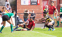 Picture by Allan McKenzie/SWpix.com - 22/04/2018 - Rugby League - Ladbrokes Challenge Cup - York City Knight v Catalans Dragons - Bootham Crescent, York, England - Judith Mazive keeps Catalans' Samisoni langi out of play.