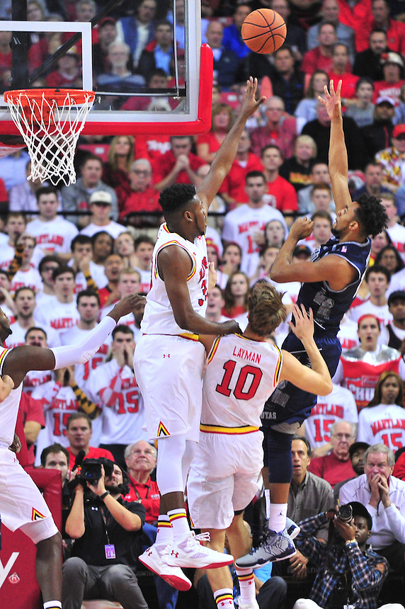 Terrapins' Diamond Stone goes after the ball. Maryland defeated Georgetown 75-71 during a game at Xfinity Center in College Park, MD on Wednesday, November 17, 2015.  Alan P. Santos/DC Sports Box