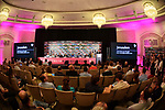 The Giro d'Italia 2018 Big Start opening Press Conference was held this morning at the Waldorf Astoria Jerusalem Headquarters. The Israeli authorities welcomed the Giro d'Italia in Jerusalem. Present were Miri Regev, Israel&rsquo;s Minister of Culture and Sport; Yariv Levin, Israel&rsquo;s Minister of Tourism; Zeev Elkin, Israel&rsquo;s Minister of Jerusalem and Heritage; Zohar Dvir, Israel&rsquo;s Deputy Police Commissioner; Sylvan Adams, Honorary President Big Start Israel; Daniel Benaim, Project Director Big Start Israel and Comtecgroup CEO; Paolo Bellino, RCS Sport Managing Director; and Mauro Vegni, Giro d&rsquo;Italia Director. Jerusalem, Israel. 2nd May 2018.<br /> Picture: LaPresse/Massimo Paolone | Cyclefile<br /> <br /> <br /> All photos usage must carry mandatory copyright credit (&copy; Cyclefile | LaPresse/Massimo Paolone)