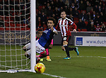Billy Sharp of Sheffield Utd shot just goes wide during the English League One match at Bramall Lane Stadium, Sheffield. Picture date: December 10th, 2016. Pic Simon Bellis/Sportimage