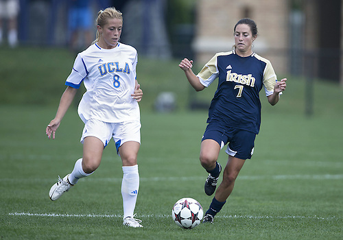 September 01, 2013:  UCLA defender Abby Dahlkemper (8) and Notre Dame forward Rebecca Twining (7) during NCAA Soccer match between the Notre Dame Fighting Irish and the UCLA Bruins at Alumni Stadium in South Bend, Indiana.  UCLA defeated Notre Dame 1-0.