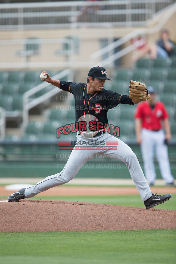 Delmarva Shorebirds starting pitcher Josh Walker (31) in action against the Kannapolis Intimidators at CMC-Northeast Stadium on June 7, 2015 in Kannapolis, North Carolina.  The Shorebirds defeated the Intimidators 9-1.  (Brian Westerholt/Four Seam Images)