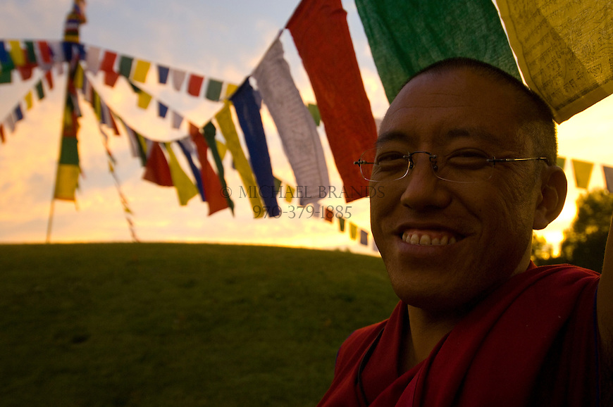 Tibetan monks hang prayer flags during a visit to Aspen, Colorado. © Michael Brands, 2008