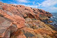 Rocky shoreline along the Cabot Strait (Atlantic Ocean). Cabot Trail. Cape Breton Island.<br />Cape Breton Highlands National Park<br />Nova Scotia<br />Canada