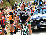 Irish Champion Sam Bennett (IRL) Bora-Hansgrohe suffering on the cimbs during Stage 15 of La Vuelta 2019  running 154.4km from Tineo to Santuario del Acebo, Spain. 8th September 2019.<br /> Picture: Karlis | Cyclefile<br /> <br /> All photos usage must carry mandatory copyright credit (© Cyclefile | Karlis/Photogomezsport)