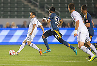 CARSON, California - February 22, 2014: The LA Galaxy defeated LA Galaxy II USL PRO side 3-0 during a friendly match at StubHub Center stadium.