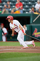 Springfield Cardinals shortstop Alex Mejia (7) follows through on a swing during a game against the Corpus Christi Hooks on May 31, 2017 at Hammons Field in Springfield, Missouri.  Springfield defeated Corpus Christi 5-4.  (Mike Janes/Four Seam Images)