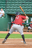Logan Nottebrok (30) of the Idaho Falls Chukars at bat against the Ogden Raptors in Pioneer League action at Lindquist Field on August 26, 2015 in Ogden, Utah. Ogden defeated the Chukars 5-1. (Stephen Smith/Four Seam Images)