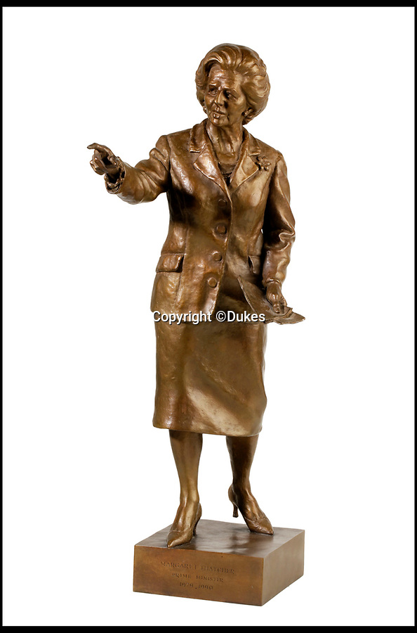 BNPS.co.uk (01202 558833)<br /> Pic: Dukes/BNPS<br /> <br /> A bronze statue of Margaret Thatcher, estimated £3,000.<br /> <br /> The collection of an influential politician who helped bring Thatcher to power is going under the hammer and expected to fetch more than £86,000.<br /> <br /> More than 100 items owned by the late Sir Edward du Cann, including a rare maquette of Winston Churchill worth £50,000, have been put up for sale by his family with Duke's of Dorchester in Dorset following his death last year.<br /> <br /> Sir Edward was an MP for 31 years and the longest serving chairman of the powerful 1922 committee, where he was instrumental in bringing Margaret Thatcher to power in 1979, and his name was never far from the front pages of the national newspapers in the 1960s and 70s.<br /> <br /> Among the items being sold are several bronze sculptures of Prime Ministers Winston Churchill, Margaret Thatcher and Clement Atlee.<br /> <br /> The collection will be sold in the Dorchester saleroom on September 6.