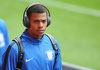 Preston North End's Lukas Nmecha arrives<br /> <br /> Photographer Kevin Barnes/CameraSport<br /> <br /> The EFL Sky Bet Championship - Swansea City v Preston North End - Saturday August 11th 2018 - Liberty Stadium - Swansea<br /> <br /> World Copyright &copy; 2018 CameraSport. All rights reserved. 43 Linden Ave. Countesthorpe. Leicester. England. LE8 5PG - Tel: +44 (0) 116 277 4147 - admin@camerasport.com - www.camerasport.com
