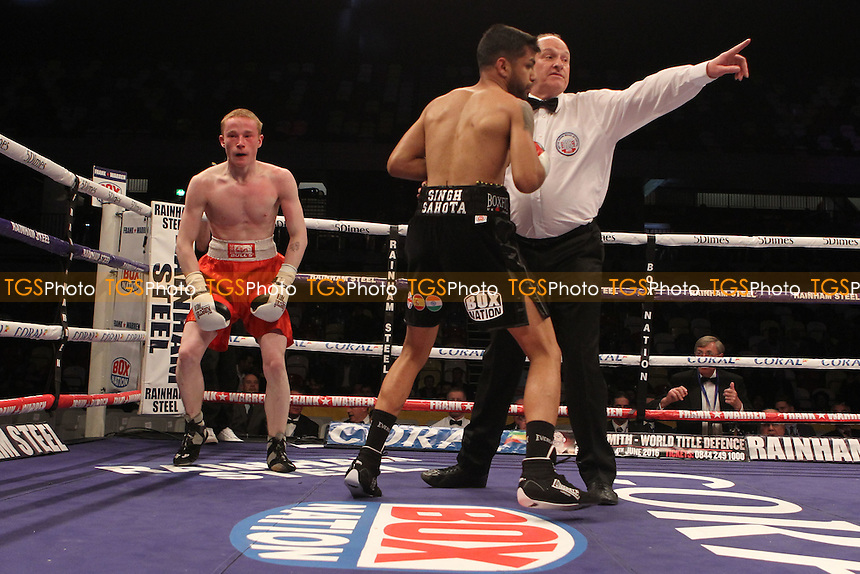 Vijender Singh vs Matiouze Royerduring a Boxing show at the Copper Box Arena on 30th April 2016
