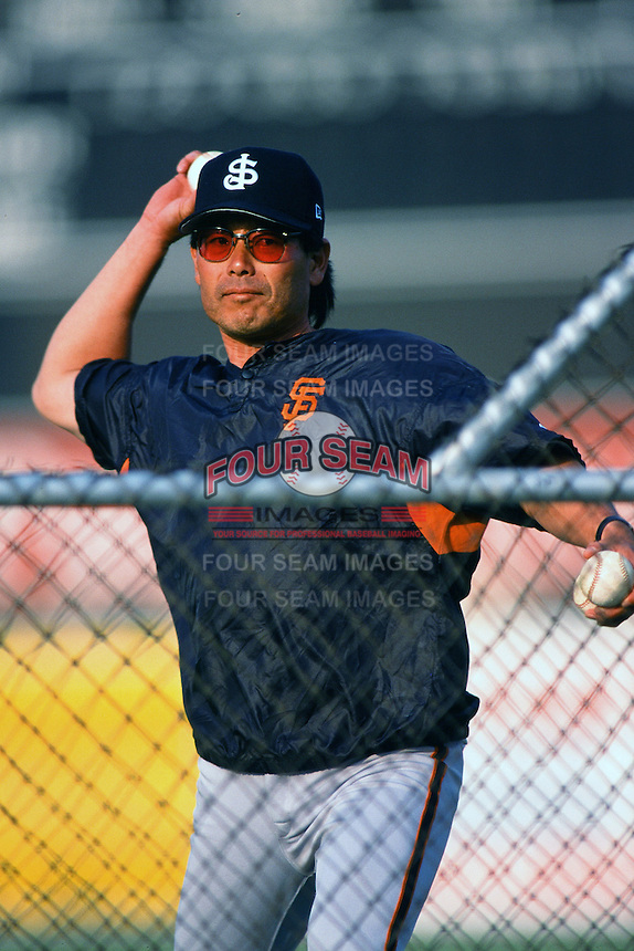 San Jose Giants Manager Lenn Sakata during a California League baseball game circa 1999. (Larry Goren/Four Seam Images)