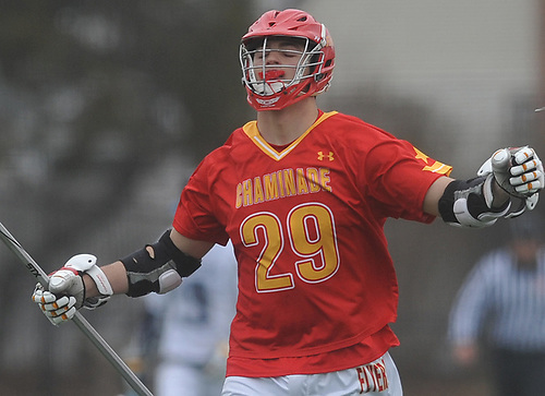 Frank Marinello #29 of Chaminade reacts after his team's 8-5 win over host Massapequa High School in a non-league varsity boys lacrosse game on Wednesday, April 4, 2018.