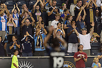 Jose Kleberson (19) of the Philadelphia Union salutes the fans after the match. The Philadelphia Union defeated Toronto FC 1-0 during a Major League Soccer (MLS) match at PPL Park in Chester, PA, on October 5, 2013.