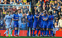 Bolton Wanderers players celebrate their equaliser<br /> <br /> Photographer Alex Dodd/CameraSport<br /> <br /> The EFL Sky Bet Championship - Leeds United v Bolton Wanderers - Saturday 23rd February 2019 - Elland Road - Leeds<br /> <br /> World Copyright © 2019 CameraSport. All rights reserved. 43 Linden Ave. Countesthorpe. Leicester. England. LE8 5PG - Tel: +44 (0) 116 277 4147 - admin@camerasport.com - www.camerasport.com