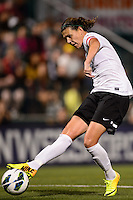 Portland Thorns forward Christine Sinclair (12) shoots and scores. The Portland Thorns defeated the Western New York Flash 2-0 during the National Women's Soccer League (NWSL) finals at Sahlen's Stadium in Rochester, NY, on August 31, 2013.