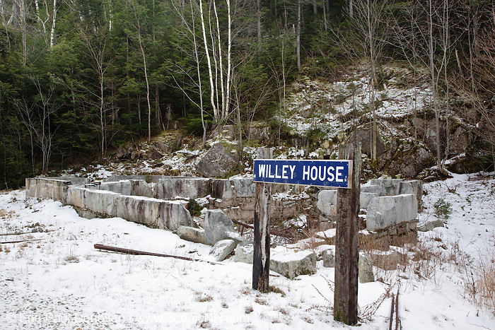 Site of the Willey House Station along the Maine Central Railroad (near Ethan Pond Trail) in Crawford Notch State Park of the New Hamsphire White Mountains. The railroad burned down this section house sometime in the 1980s.
