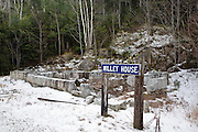 Site of the Willey House Station along the Maine Central Railroad (near Ethan Pond Trail) in Crawford Notch State Park of the New Hamsphire White Mountains. The railroad burned down this station sometime in the 1980s.