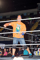 WWE superstar John Cena yells to the crowd before his match against Rusev, The Bulgarian Brute, after their match at a WWE Live Summerslam Heatwave Tour event at the MassMutual Center in Springfield, Massachusetts, USA, on Mon., Aug. 14, 2017. Cena won the match.