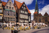 outdoor café, Bremen, Germany, Europe, Outdoor cafés Am Markt in downtown Bremen.