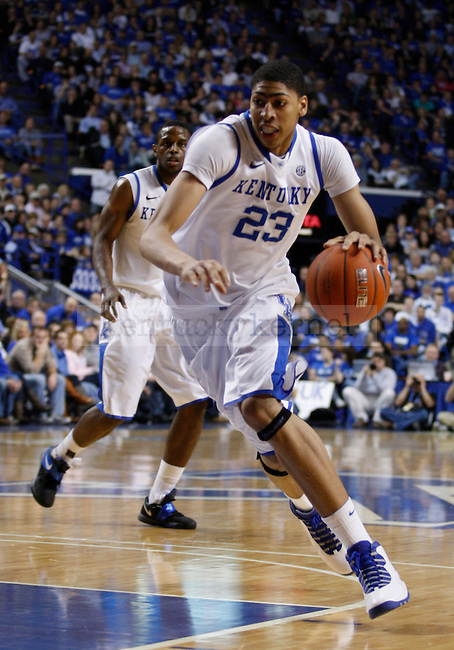 Freshman forward Anthony Davis drives the ball during the second half of the game against the University of Mississippi Rebels, in  Rupp Arena, on Saturday, Feb. 18, 2012. Kentucky won 77-62. Photo by Latara Appleby | Staff ..