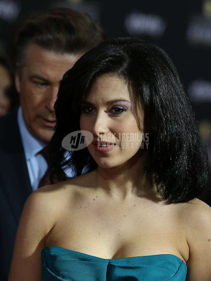 Feb. 2, 2013; New Orleans, LA, USA: Hilaria Thomas , wife of actor Alec Baldwin (not pictured) on the red carpet prior to the Super Bowl XLVII NFL Honors award show at Mahalia Jackson Theater. Mandatory Credit: Mark J. Rebilas-USA TODAY Sports